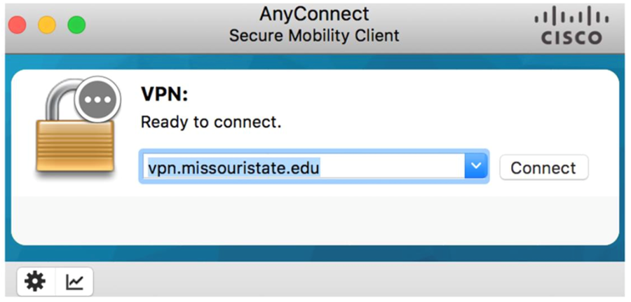Select vpn.missouristate.edu from the drop-down menu and click connect.