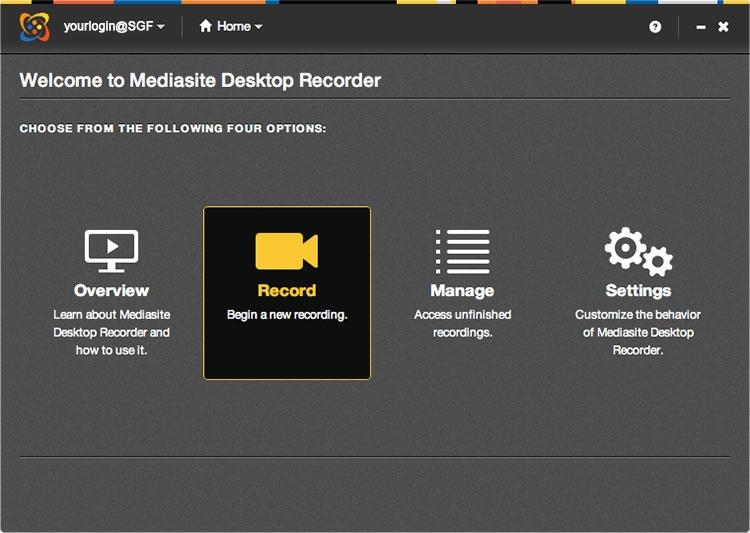 Mediasite Desktop Recorder welcome page
