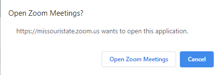 message asking to open zoom meetings