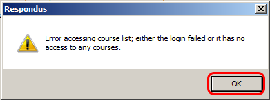 Respondus error message
