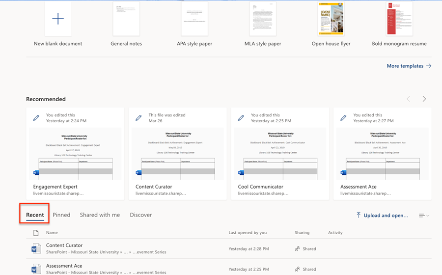 image showing option to access recent documents