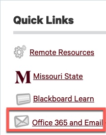 Under Quick Links section, select Office 365 and Email link.