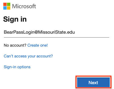Office 365 sign in page with @MissouriState.edu username