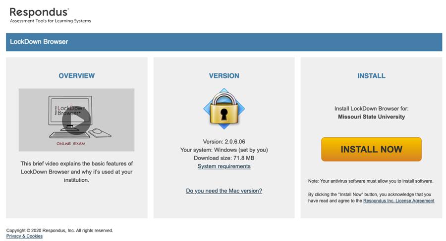 Download screen for Respondus Lockdown browser.