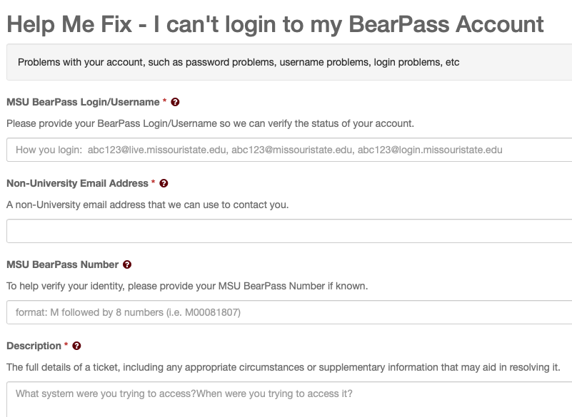 I can't login to my BearPass account ticket form