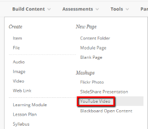 From Build Content select YouTube Video from the drop-down menu.