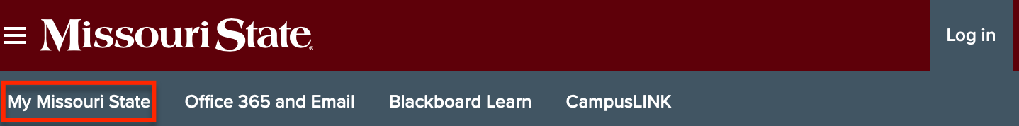 """Missouri State webpate, with """"My Missouri State"""" highlighted"""