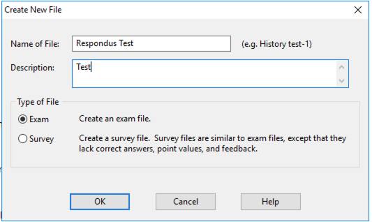 Create new file window with name and description text boxes