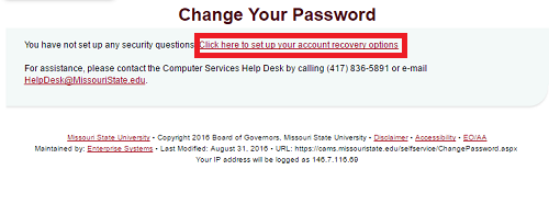 "Change your Password section of CAMS website with ""Click here to settup your account recovery options"" highlighted."