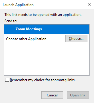 Click the checkbox to remember my choice for zooming links.