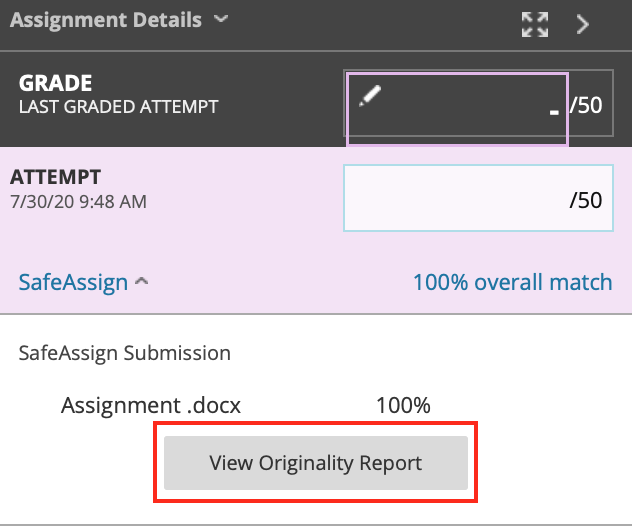 view originality report button