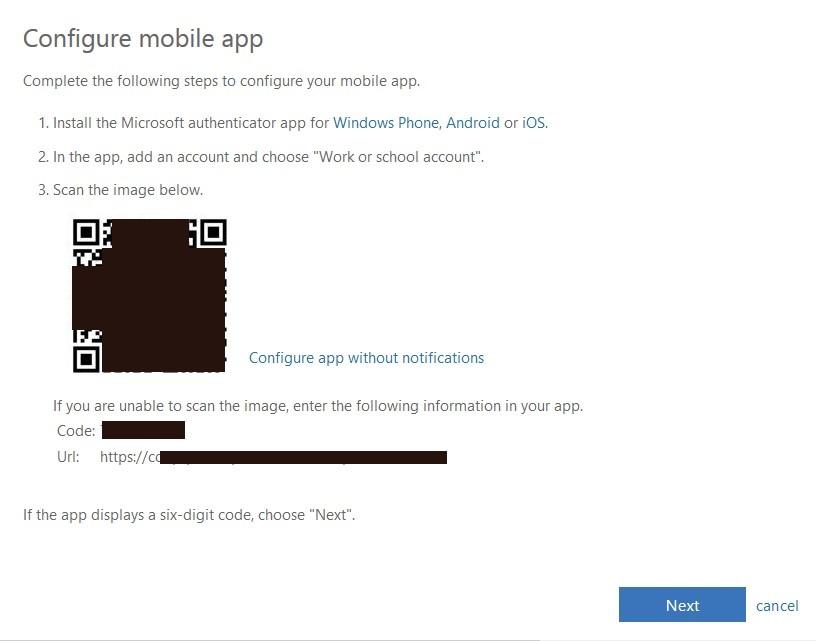 configure mobile app page