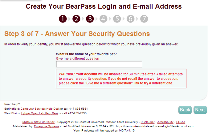 "CAMS website, displaying example Security Question, with ""Next"" button highlighted."