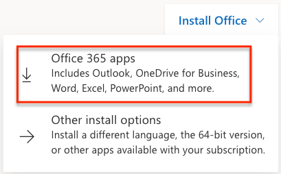 Select the Office 365 apps link