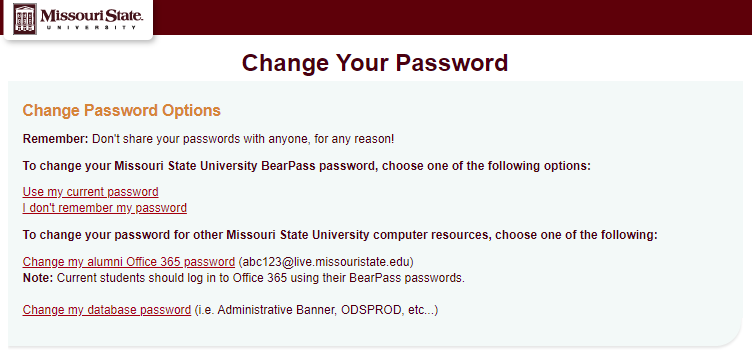 Change Password Options within CAMS website