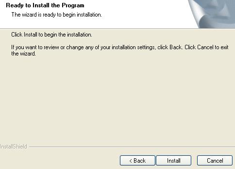 Install Wizard click install to begin the installation pop-up