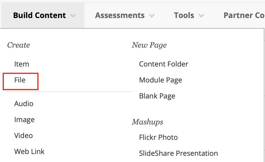Build content drop down menu