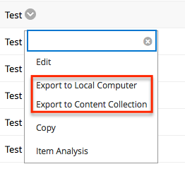From the contextual menu select Export to Local Computer or Export to Content Collection