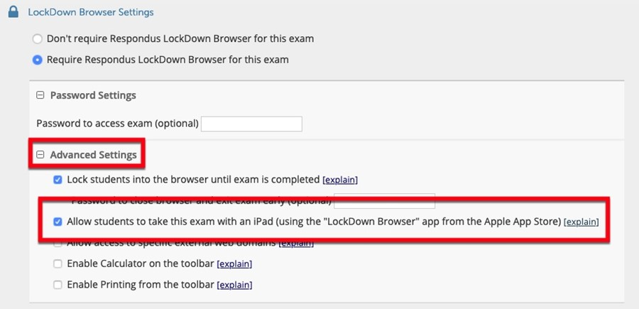 Allowing iPads to use LockDown Browser.