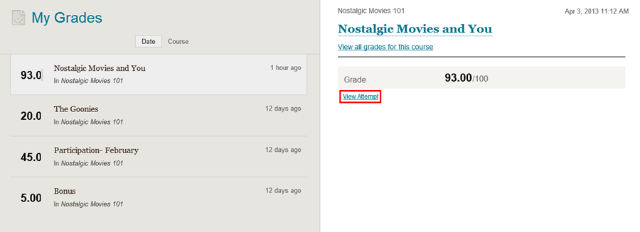 my grades page