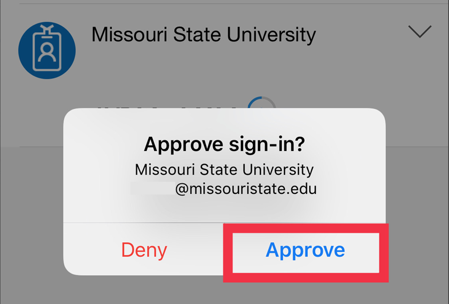 Approve notification as shown on an iPhone