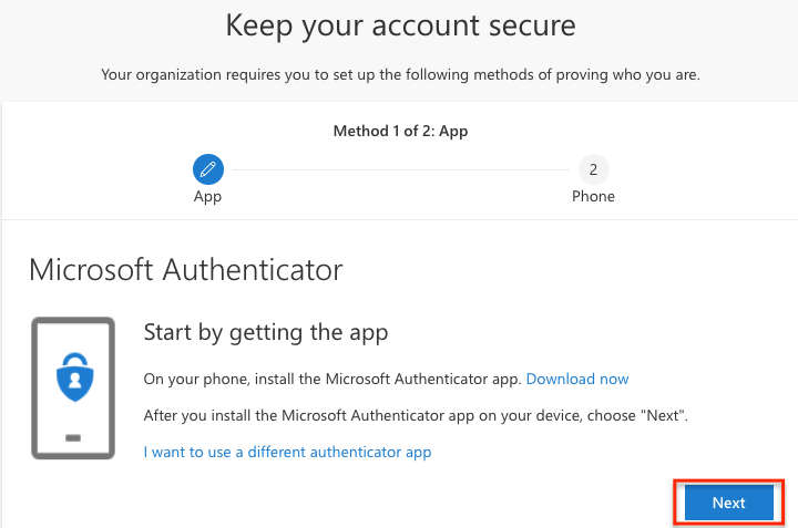 "Microsoft Authenticator ""start by getting the app"" prompt"