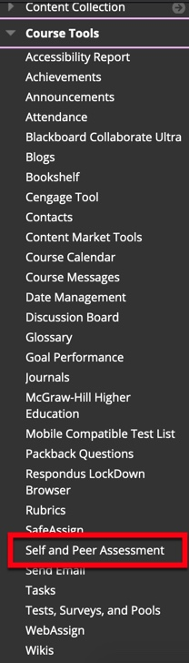 Select Self and Peer Assessment from the Course Management menu.