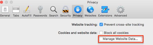 manage website data button