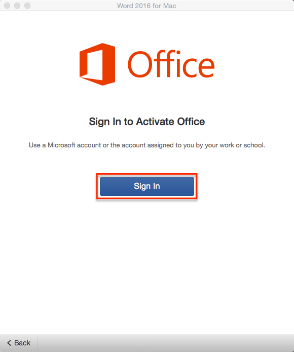 Sign in to Activate Office Window