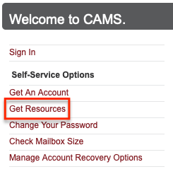 Select the Get Resources link on the CAMS site
