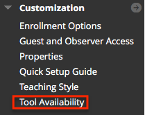 Blackboard Control panel with tool availability highlighted