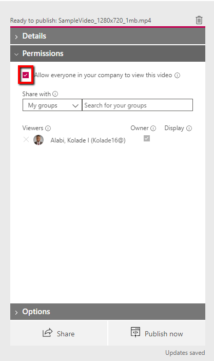Check the box to allow everyone to view the video if you want it to be public.