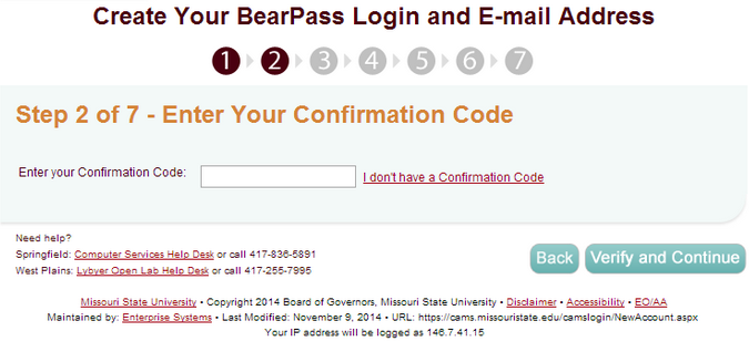 "CAMS website, displaying Confirmation Code section, with ""Next"" button highlighted."