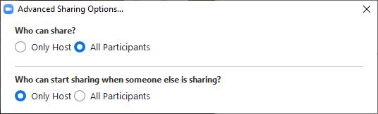 options for who can share