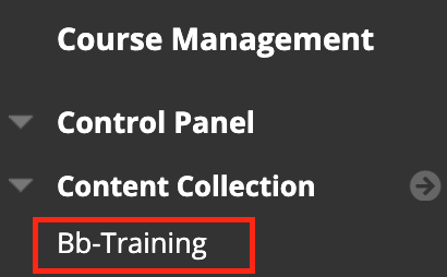 Access the Content Collection from your course Control Panel