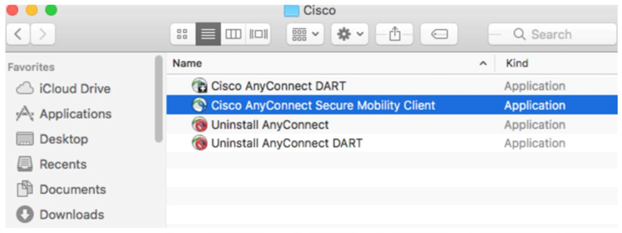 To continue setting up VPN, open the Cisco AnyConnect Secure Mobility client from your applications.