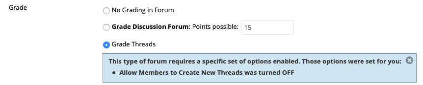 Edit Grade settings for your Thread.
