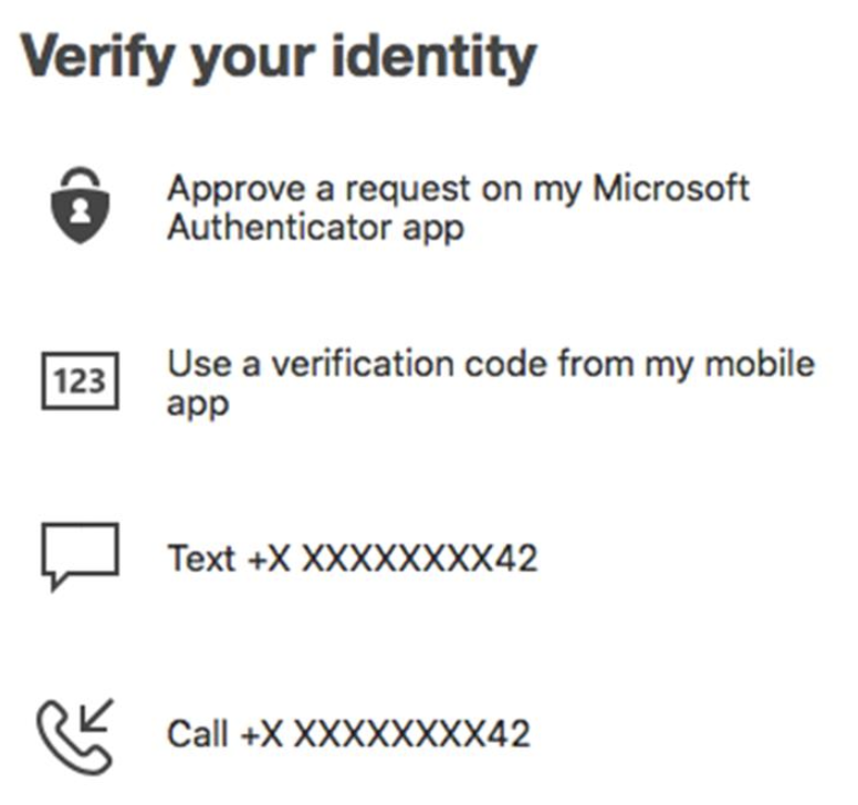 Select the option you would like to use to verify your identity.