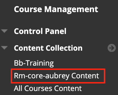 Personal content collection folder under the course control panel menu