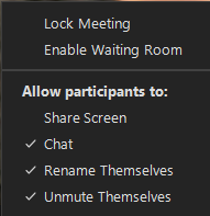 options for participants to share