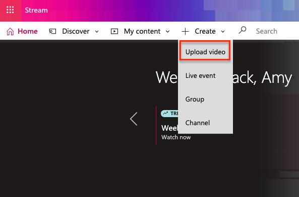 Image showing upload video option on Stream platform