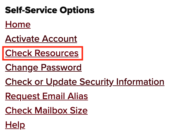 Self-Service Options menu with Check Resources link highlighted