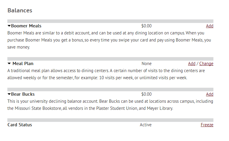 Balances section of the Bearpass Card section of the Missouri State website.