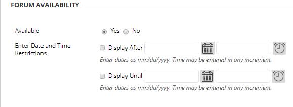 forum availability settings