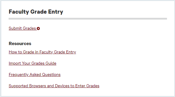 Click on the link to Submit Grades.
