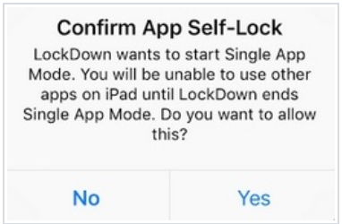 Confirmation message will prompt to give LockDown browser permission to Start Single App Mode.