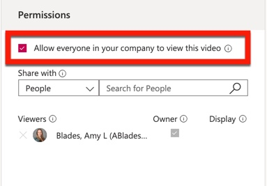Uncheck Allow everyone in your company to view this video.