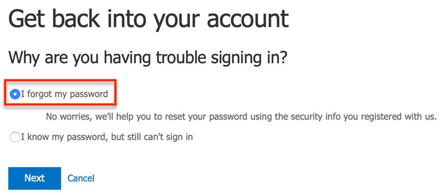 I forgot my password option