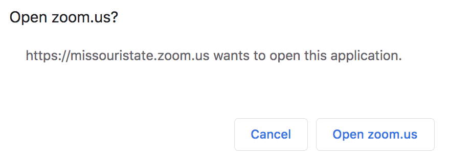 Dialog box asking if you want to open Zoom