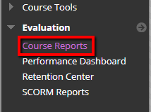 Select Course Reports from Evaluation in the management menu.